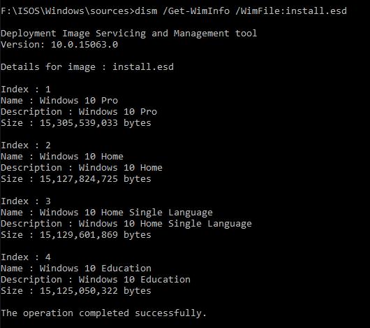 Converting Windows 10 Media Creation tool to install wim